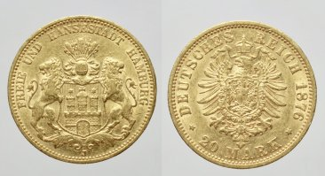 GERMANIA - AMBURGO -AU/ 20 MARK 1876 J